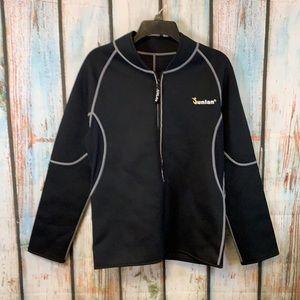 Sunlan Black Neoprene Full Zip Weight Loss Sauna Suit XL